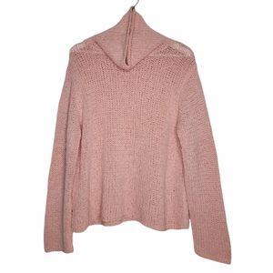 EILEEN FISHER Wool Turtleneck Chunky Pink Sweater